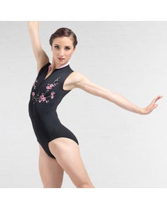 Ballet Rosa Ciaravola Zip Front Floral Embroidered Leotard