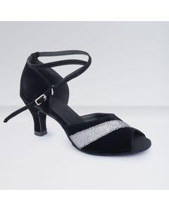 1st Positon Chaussures de Danse de Salon Blanches et Noires en Nubuck Avec Boucle D`attache